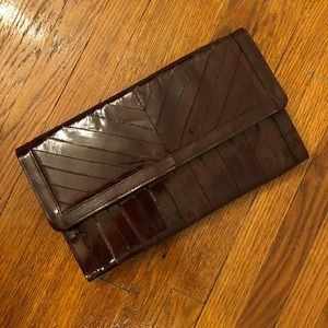 Vintage Genuine Eel Skin Burgundy Clutch